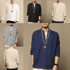 S-2XL Mens Casual Long Sleeve V Neck Cotton Linen Chinese Style T Shirt Tee Tops