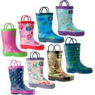 Oakiwear Waterproof Kids Rubber Rain Boots Boy & Girl Toddler Shoes With Handles