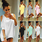 party blouses for women - Women Cold Shoulder Loose T Shirts Blouse 3/4 Sleeve Casual Summer Long Tops Tee