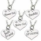 Women Lady Love Heart Sister Mother Family Pendant Jewelry Chain Necklace