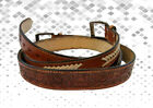 MENS LEATHER FLORAL TOOLED HANDMADE BELT JEANS GUN CASUAL BROWN BELTS BUFFALO