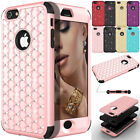 Luxury Bling Crystal Rubber Diamond Hybrid Hard Case Cover For iPhone 6 6s Plus
