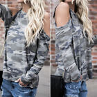 Women's Off-The-Shoulder Camouflage Floral Print Loose Jumper Tops Blouse Shirt
