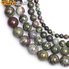 Round Natural Dark Green Cuprite Jasper Stone Loose Beads For Jewelry Making 15""