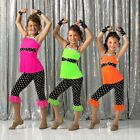 Funtastic PINK Dance Costume Capri Pants Top Head Wrap and Gloves Child X-Small
