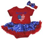 Proud Of British Heart Red Cotton Bodysuit Blue Snowflake Baby Dress NB-18M
