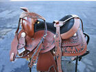 12 13 YOUTH KIDS PONY SADDLE BLACK TOOLED BARREL RACING LEATHER WESTERN HORSE