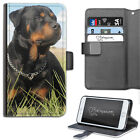 HAIRYWORM BLACK AND TAN ROTTWEILER DOG LEATHER WALLET PHONE CASE, FLIP CASE
