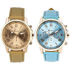 Fashion Women Watch Ladies Roman Numerals Faux Leather Casual Quartz Wrist Watch