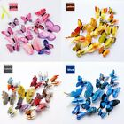 12Pcs Double-layer 3D Butterfly Wall Stickers PVC Room Bedroom Decals Home Decor