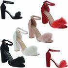 New Womens Fluffy Faux Fur High Block Heel Peep Toe Ladies Sandals Shoes Size