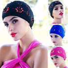 Durable Waterproof Women Adult Swim Cap Polyester Swimming Bathing Floral Hat