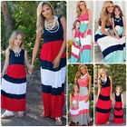 Mother and Daughter Mom & Me Boho Striped Maxi Dress Family Matching Set Outfits