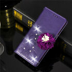 Diamond 3D Floral Stand Leather Card Wallet Magnetic Case Cover For Various