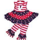 Red White & Blue 4th of July Anchor Capri Boutique Outfit Patriotic 5 6 7 8 9 pi