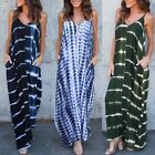 Women Summer Beach Long Maxi Dress Wave Stripe Evening Party Sundress Slip Dress