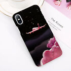 For iPhone X 8 7 6s Plus Moon Plane Space Pattern Matte Hard PC Phone Case Cover