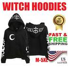 Внешний вид - Women Witch Punk Sweatshirt Black Hoodie Zip Oversized Gothic Slim Long Sleeve