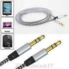1m Coiled & Braided 3.5mm STEREO Jack To Jack Audio Aux Cable Car iPhone Samsung