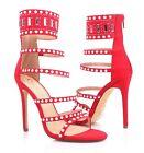 """Red Color Open Toe Gladiator Strappy Ankle high Zipper Women 4.5"""" Stiletto Heels"""