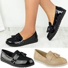 Black School Shoes Womens Ladies Girls Flat Formal Work Loafers Comfy New Size