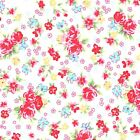 CANDY FLORAL 100% COTTON FABRIC IVORY CREAM half metre / metre PINK ROSES