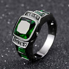 Size 7-11 Mens Nobby Black Gold Filled Emerald Fashion Wedding Rings Gift