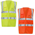 Mens Raiken Hi Viz Safety Work Vest High Visibility Executive Zip Jacket Wais...