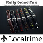 Black Rally Grand Prix Watch Strap Premium Leather Half Padded & Smooth 20-24mm