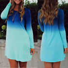 Women Ladies Long Sleeve Casual T Shirt Top Loose Mini Pleated Swing Party Dress