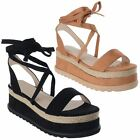 Womens Flat Wedge Espadrille Lace Tie Up Platform Ladies Sandals Shoes Size