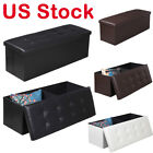 "43"" Foldable Storage Ottoma Leather Footrest Stool Box Furniture Decor Bench NEW"