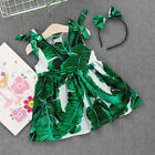 New Kids Toddler Baby Girls Summer Beach Casual Party Dress+Headband Outfits Set