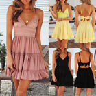 Sexy Womens Holiday Strappy Backless Ladies Summer Beach Midi Swing Party Dress