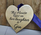 Gin O'Clock Plaque Friend Heart Housewarming Gift Sign Personalised Present ****
