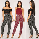 Fashion Women's Pants High Waist Elastic Drawstring Striped