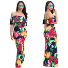 US Women Floral Long Maxi Dress Short Sleeve Evening Party Summer Beach Sundress