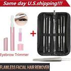 Внешний вид - Electric Facial Hair Eyebrow Trimmer+ Blackhead Acne Pimple Extractor Remover US