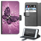 PURPLE BUTTERFLY PHONE CASE, LEATHER WALLET FLIP CASE, COVER FOR SAMSUNG, APPLE