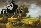 BANKSY Apache Helicopter over Landscape Canvas Print Graffiti Wall Art Giclee