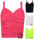 Girls New Strappy Ruched Buckle Top Kids Summer Plain T-shirt Stretchy Vest 2-13