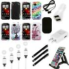For HTC Rezound Design Snap-On Hard Case Phone Cover Charger