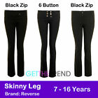 Girls School Trousers Miss Sexies Plain Black Skinny Leg Trouser Pants Childrens