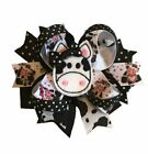 Cow Feltie Boutique Hair Bow