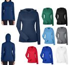 LADIES PERFORMANCE, LONG SLEEVE HOODED T-SHIRT, HOODIE UNLINED UV WICKING XS-3XL