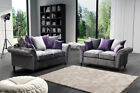 Marilyn Velvet Sofa Set 3+2+1 Settee Silver Grey Violet Foam Seats 3 Piece Suite