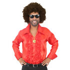 MENS 60s 70s DISCO COSTUME SHIRT RUFFLE ADULTS FANCY DRESS WIG GLASSES NECKLACE