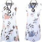 Ladies Sleeveless Distressed Ripped Floral Linen Plus Size Top Tunic Mini Dress