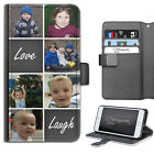 PERSONALISED LEATHER PHONE CASE CUSTOM PHOTO COLLAGE LOVE LAUGH FLIP CASE COVER