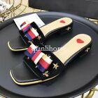 womens open toes bowknot block chunky med heel slippers shoes embroidery bee hot